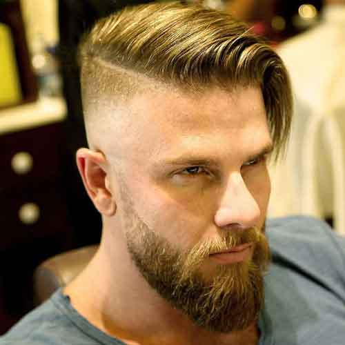 peinado largo comb over con undercut fade y barba