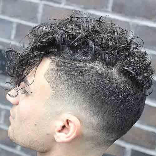 cabello rizado largo con degradado