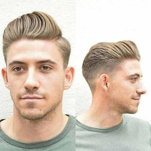 degradado con peinado hacia arriba y a un lado