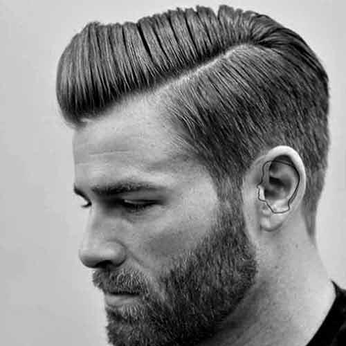 peinado hacia un lado con barba