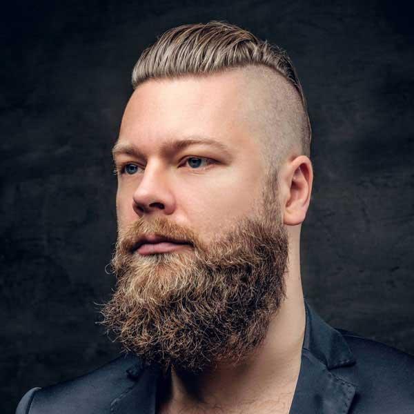 undercut desconectado con cabello resbaladizo y barba