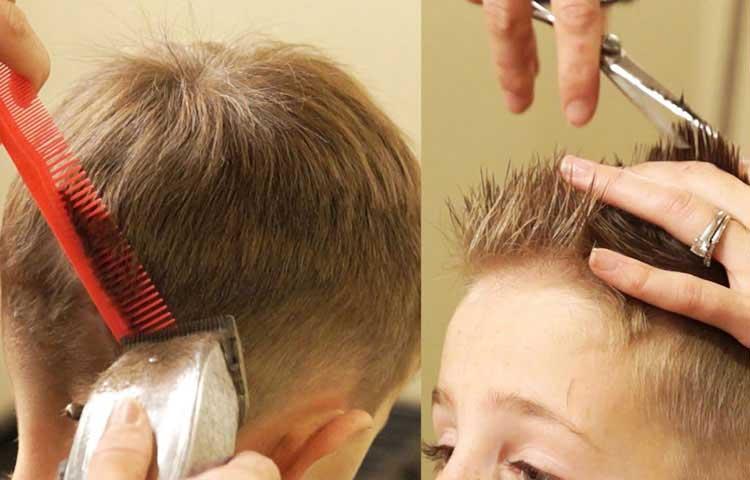 cortando en capa cabello niños